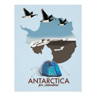 Antarctica For Adventure Travel poster map.