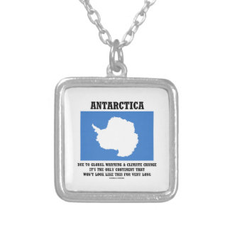 Antarctica Global Warming Climate Change Continent Square Pendant Necklace