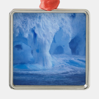 Antarctica. Iceberg with breaking waves Square Metal Christmas Ornament
