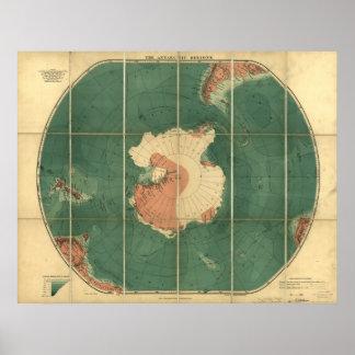 Antarctica Regions Antique Map 1922 Print