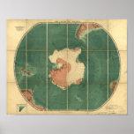 Antarctica Regions Antique Map 1922 Poster