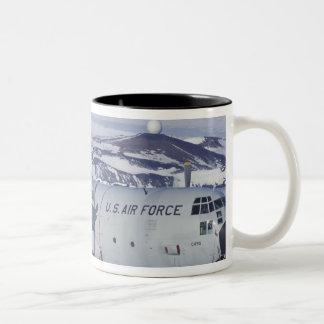 Antarctica, Ross Island, McMurdo station, C-130 Two-Tone Coffee Mug