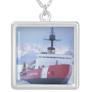 Antarctica, Ross Island, McMurdo Station, USCG Silver Plated Necklace