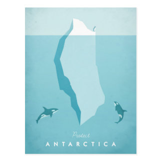 Antarctica Vintage Travel Poster - Art Postcard