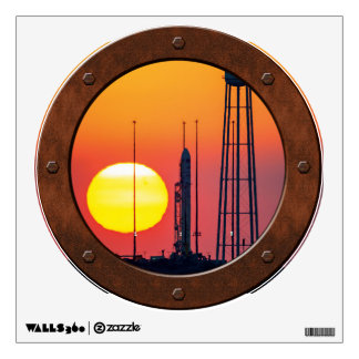 Antares Rocket at Sunrise Steampunk Porthole View Wall Graphic