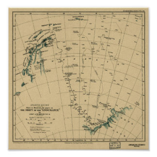 "Antartic Regions ""Drift of the Endurance"" 1918 Map Poster"