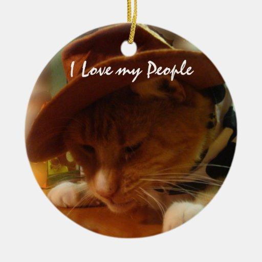 Anteado el gato de la vaquera adorno navideño redondo de cerámica
