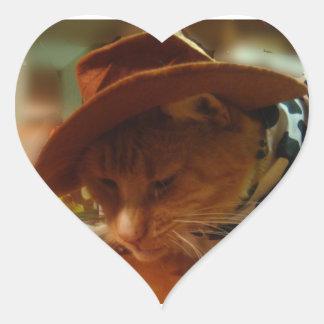Anteado el gato de la vaquera pegatina en forma de corazón