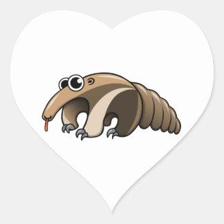 Anteater del dibujo animado pegatina en forma de corazón
