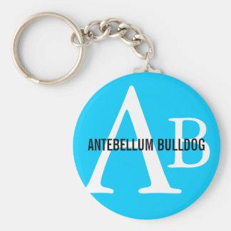 Antebellum Bulldog Breed Monogram Basic Round Button Keychain