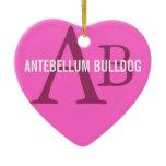 Antebellum Bulldog Breed Monogram Ceramic Ornament