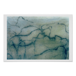Antelope and bison, Perigordian (cave painting) Poster