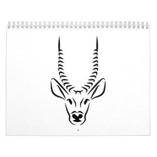 Antelope head horns wall calendar