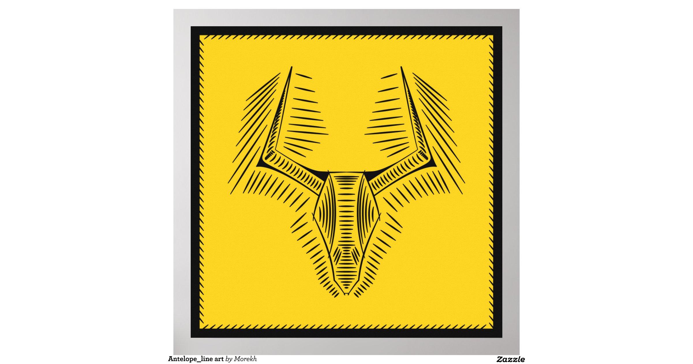 Line Art Poster : Antelope line art poster zazzle