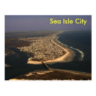 Antena de la ciudad de la isla del mar tarjetas postales