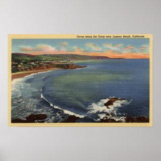 Antena de las ensenadas a lo largo de la costa posters