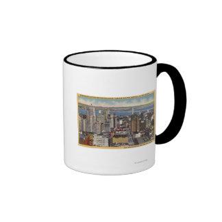 Antena del centro de la ciudad, opinión del puente tazas de café
