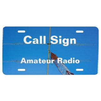 Antena e indicativo rectos de radio aficionados placa de matrícula
