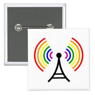Antena gay de la señal del arco iris de Wifi Pin Cuadrada 5 Cm