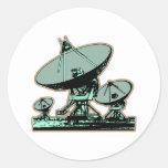 Antena parabólica retra pegatinas redondas