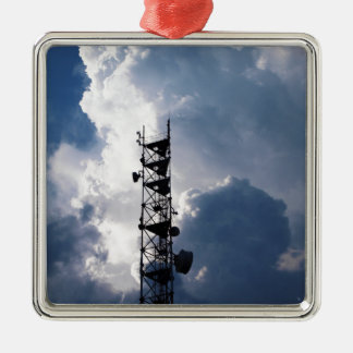 Antenna and thunderclouds metal ornament