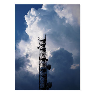Antenna and thunderclouds postcard
