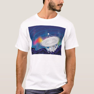 Antenna Observing the Sky with a Aurora T-Shirt