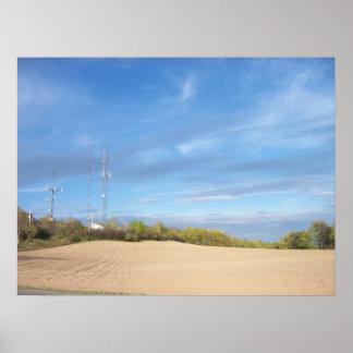 Antenna, Plowed Field, Open Sky Poster