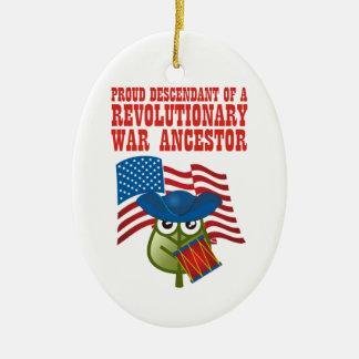 Antepasado revolucionario de la guerra adorno navideño ovalado de cerámica