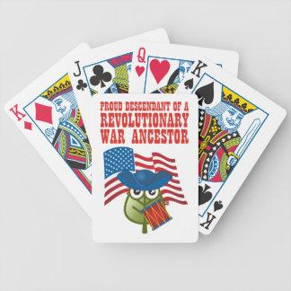 Antepasado revolucionario de la guerra barajas de cartas