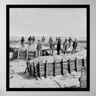 Antepechos confederados 1865 de la condenación del póster