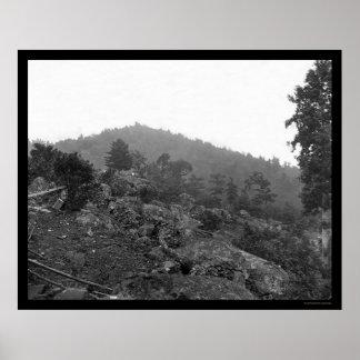 Antepechos de Gettysburg en el pequeño top redondo Póster