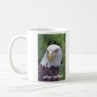 antes de café, después de la taza de café