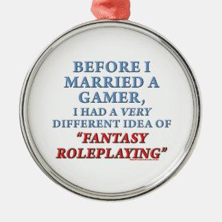 Antes de que casara un videojugador adorno redondo plateado