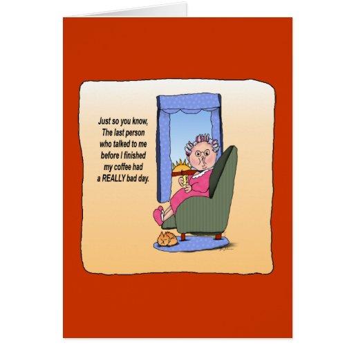 Antes de tarjeta divertida del estómago del humor