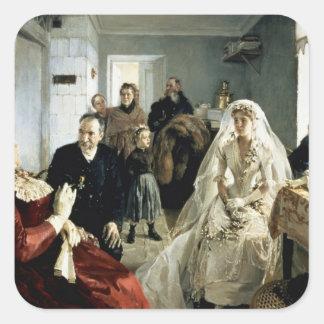 Antes del boda, 1880s calcomania cuadradas