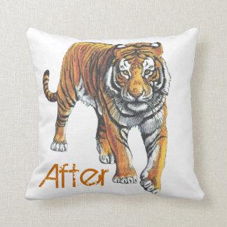 Antes y después de almohada del tigre