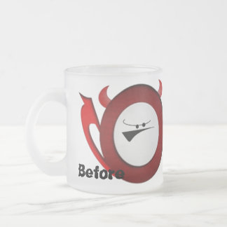 Antes y después de café taza
