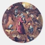 Anthony con los monstruos. Por Hieronymus Bosch Pegatina Redonda