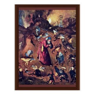 Anthony con los monstruos. Por Hieronymus Bosch Postal