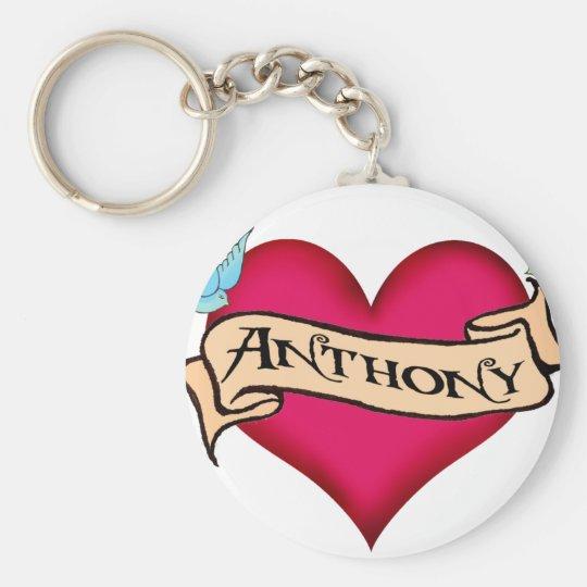 Anthony - Custom Heart Tattoo T-shirts & Gifts Keychain