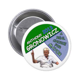 Anthony Gronowicz para el alcalde 2013 de NYC Pin Redondo De 2 Pulgadas