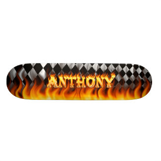 Anthony skateboard fire and flames design.