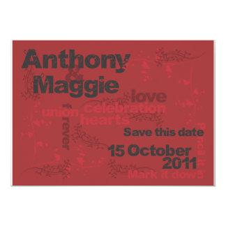 """Anthony y Maggie ahorran la fecha Invitación 5"""" X 7"""""""