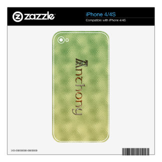 ANTHONY's NAME ON A DEVICE DECAL or SKIN Skin For iPhone 4