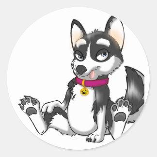 Anthro Husky Puppy Round Sticker