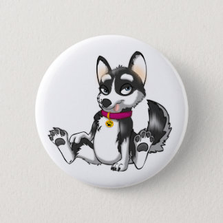 Anthro Siberian Husky Button
