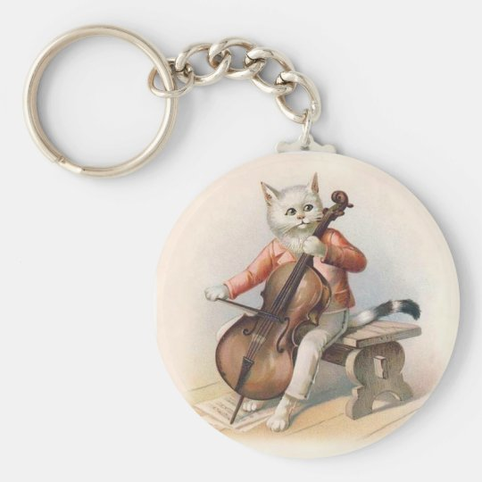 Anthropomorphic Cat Playing Cello Keychain