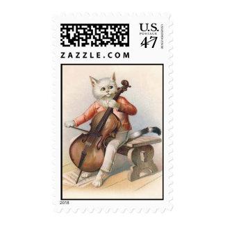 Anthropomorphic Cat Playing Cello Postage