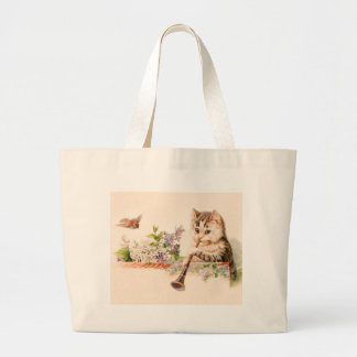 Anthropomorphic Cat Playing Horn - Vintage Art Tote Bags
